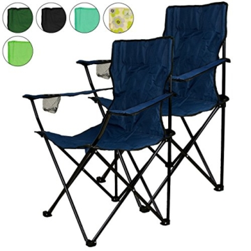 Nexos 2-erSet Campingstuhl mit Armlehne und Getränkehalter, blau
