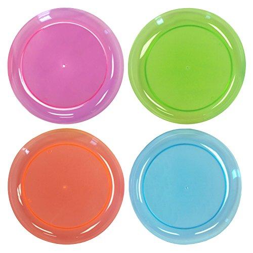 Plastikteller in verschiedenen Neonfarben - 20er Pack