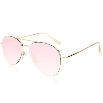 Verspiegelte Fliegersonnenbrille mit Gold Rahmen