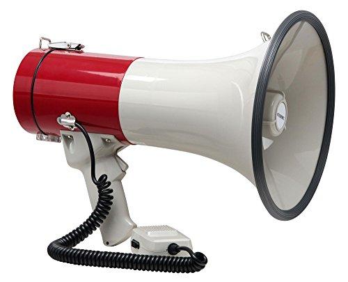 Megaphon mit Sirene - batteriebetrieben - weiß/rot