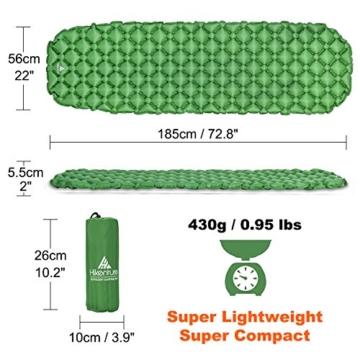 Hikenture Camping Isomatte Kleines Packmaß Ultraleichte Aufblasbare Isomatte - Sleeping Pad für Camping, Reise, Outdoor, Wandern, Strand (Grün) - 2
