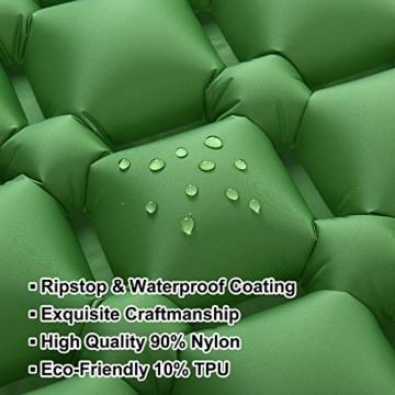 Hikenture Camping Isomatte Kleines Packmaß Ultraleichte Aufblasbare Isomatte - Sleeping Pad für Camping, Reise, Outdoor, Wandern, Strand (Grün) - 6