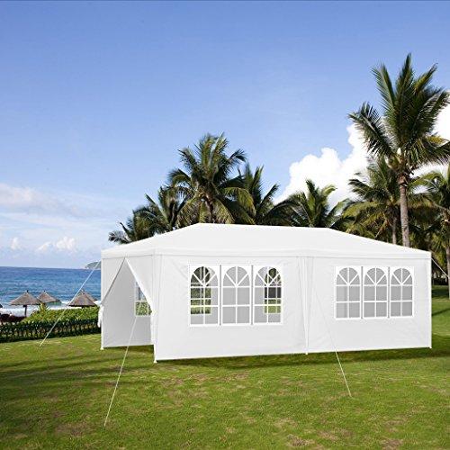 LANGRIA Gartenzelt 6 x 3 m, 17,5kg, Hochwertiges Partyzelt mit 4 abnehmbare Seitenwände und 4 Fenster weiß