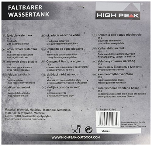 High Peak Wassertank faltbar 15L, transparent, 25 x 25 x 12 cm, 41460 - 1