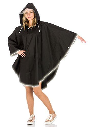 Regenponcho für Damen und Herren (M, schwarz)