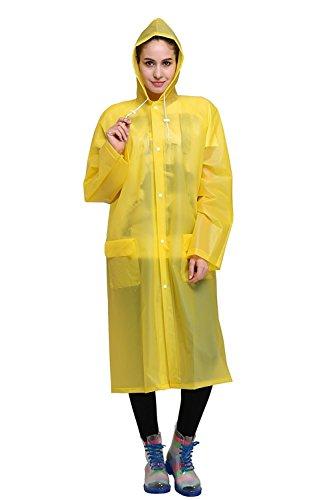 Regenponcho von Outry, Regenjacke Regenmantel, Poncho, Regencape, (M, Gelb)