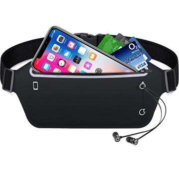 Sport Hüfttasche, leichte wasserdichte Laufgürtel Lauftasche mit Kopfhöreranlass (schwarz)